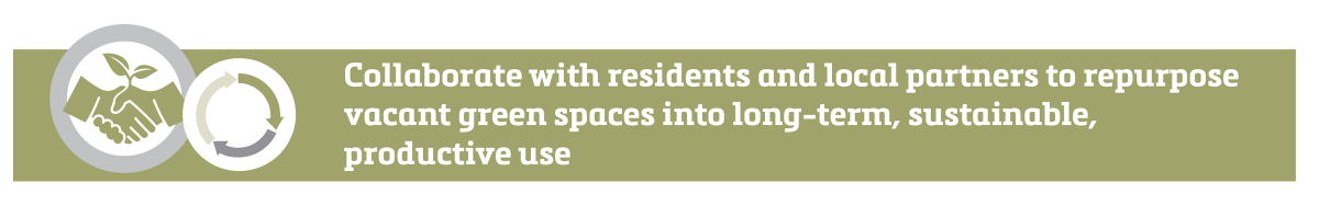 Collaborate with residents and local partners to repurpose vacant green spaces into long-term, sustainable, productive use