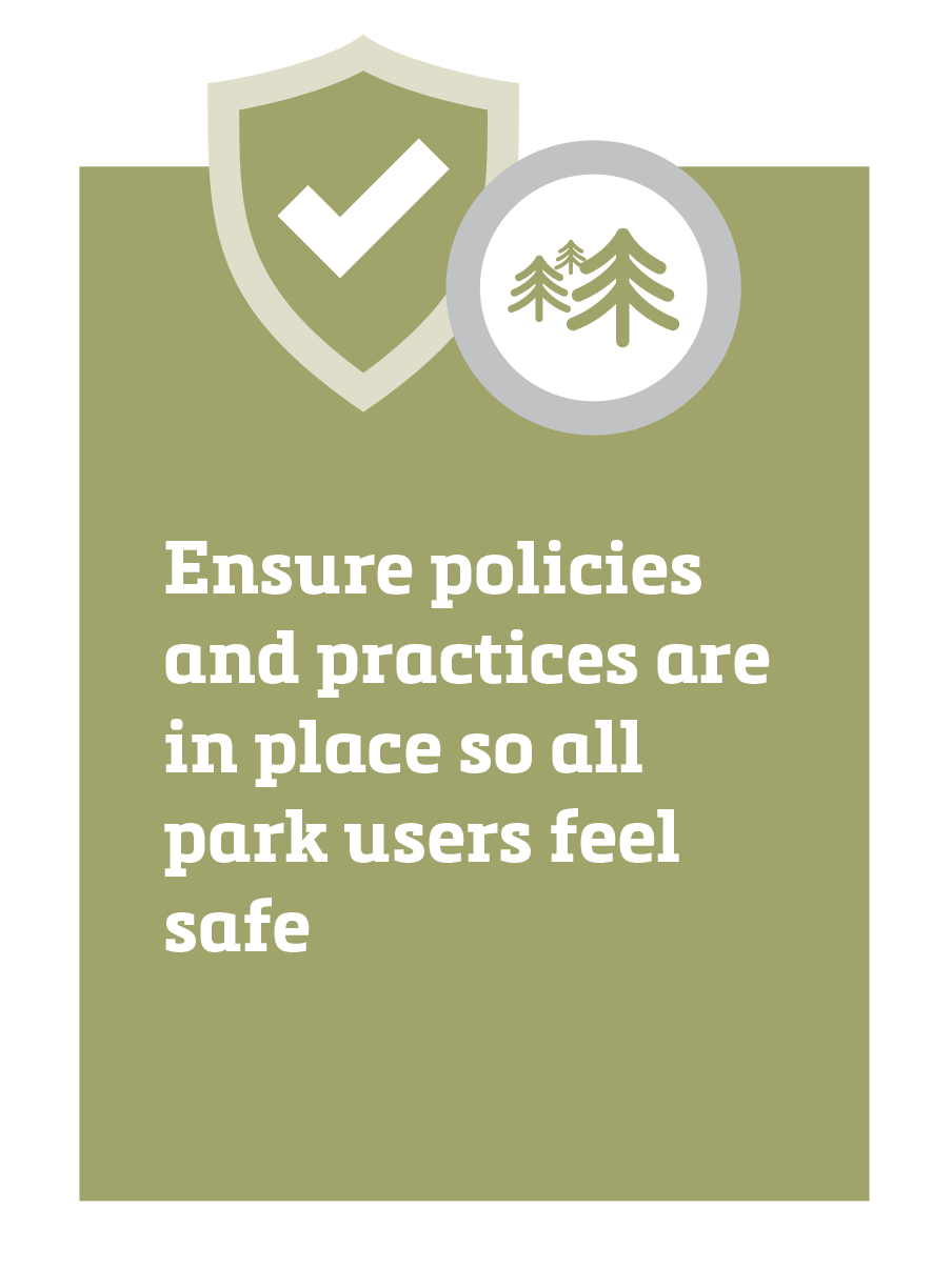 Ensure policies and practices are in place so all park users feel safe