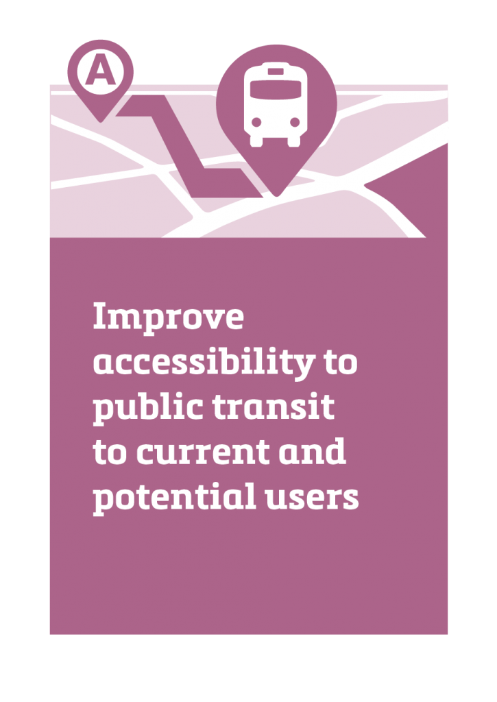 Improve accessibility to transit services to current and potential users